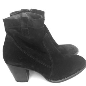 Paul Green Jax Black Suede Ankle Boots size 6 1/2
